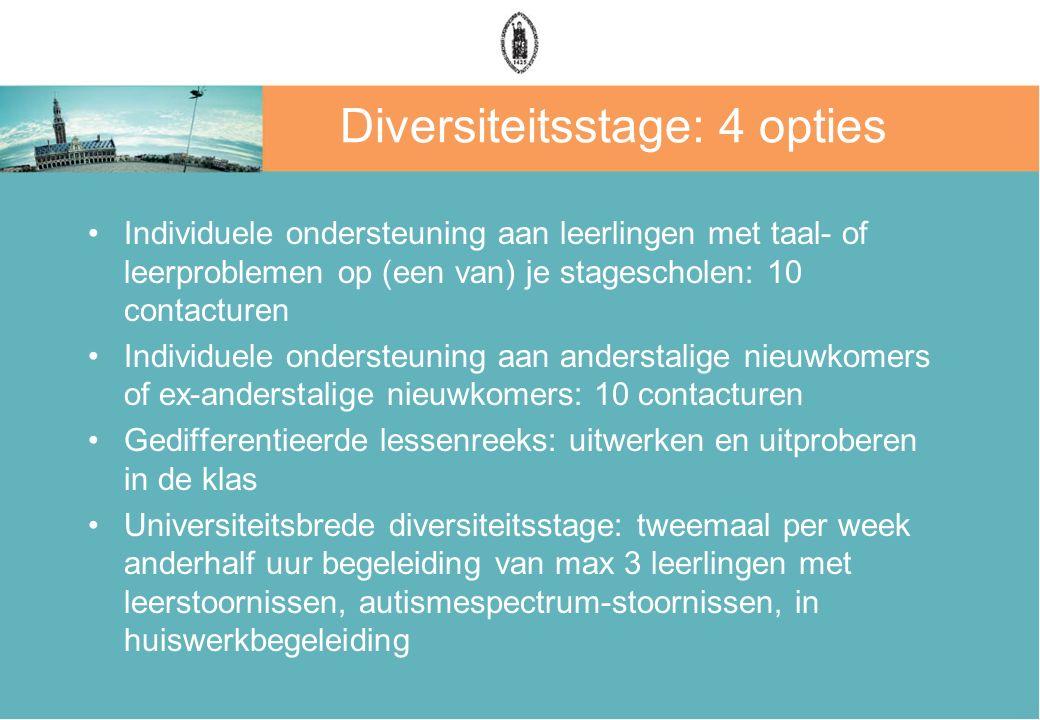 Diversiteitsstage: 4 opties Individuele ondersteuning aan leerlingen met taal- of leerproblemen op (een van) je stagescholen: 10 contacturen Individue