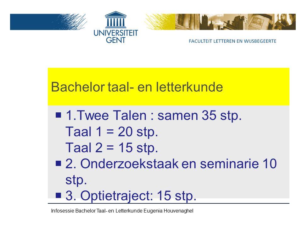 Bachelor taal- en letterkunde  1.Twee Talen : samen 35 stp.