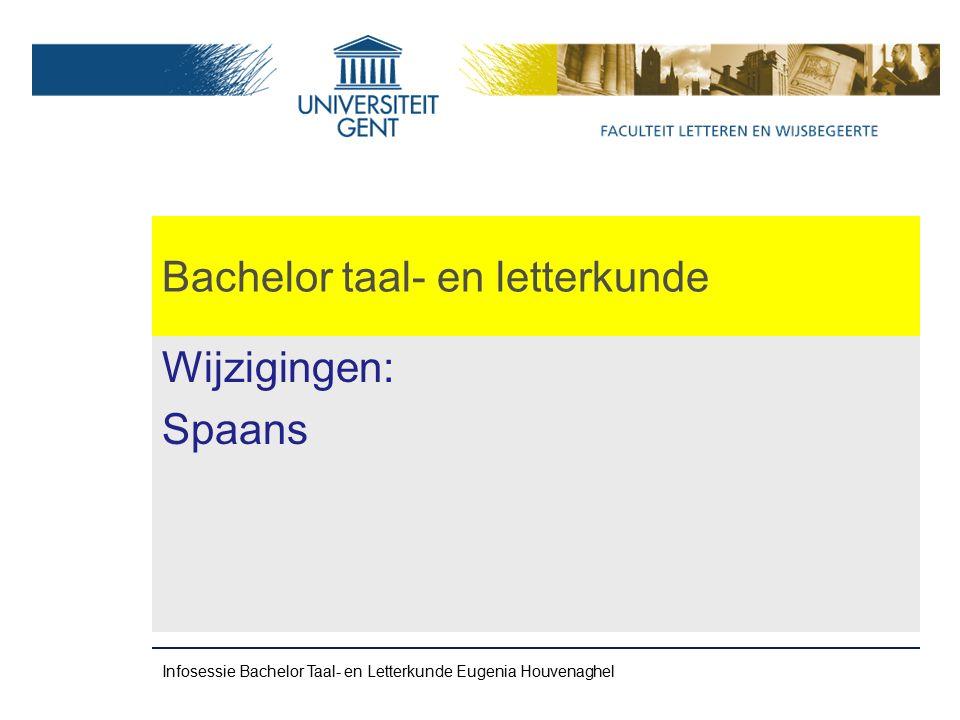 Bachelor taal- en letterkunde Wijzigingen: Spaans Infosessie Bachelor Taal- en Letterkunde Eugenia Houvenaghel
