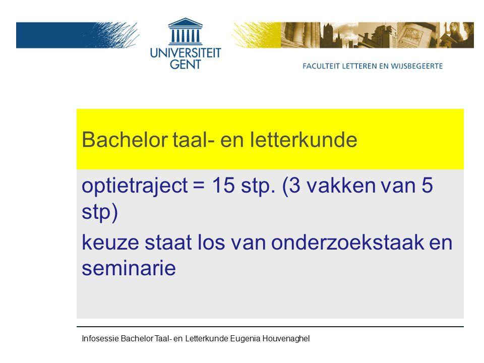 Bachelor taal- en letterkunde optietraject = 15 stp.