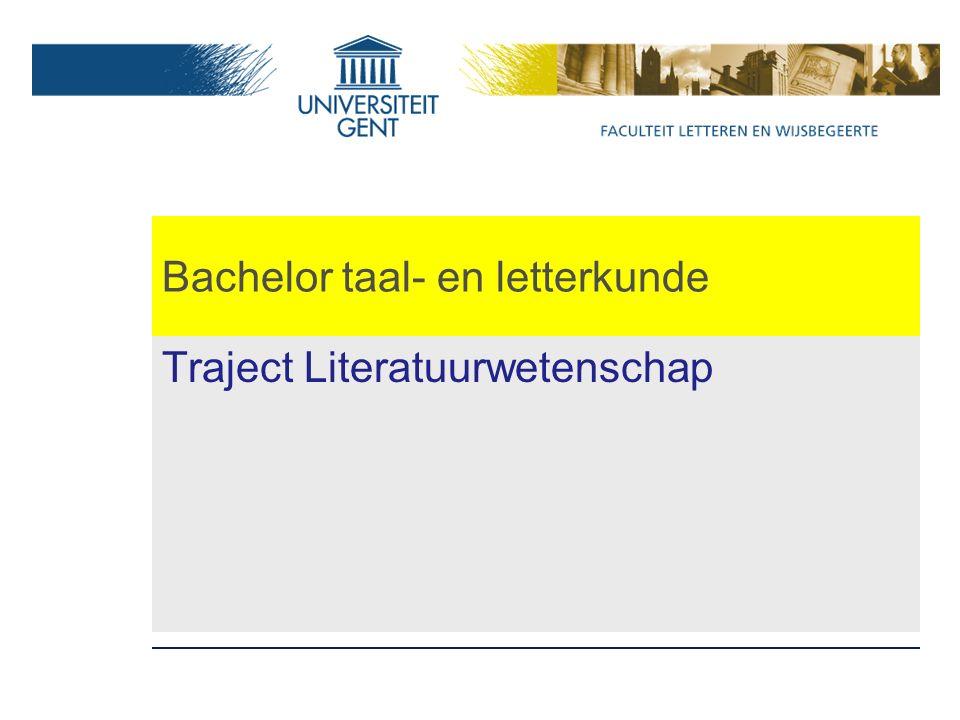 Bachelor taal- en letterkunde Traject Literatuurwetenschap