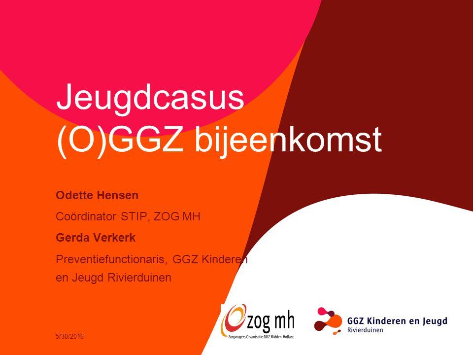 5/30/2016 Jeugdcasus (O)GGZ bijeenkomst Odette Hensen Coördinator STIP, ZOG MH Gerda Verkerk Preventiefunctionaris, GGZ Kinderen en Jeugd Rivierduinen
