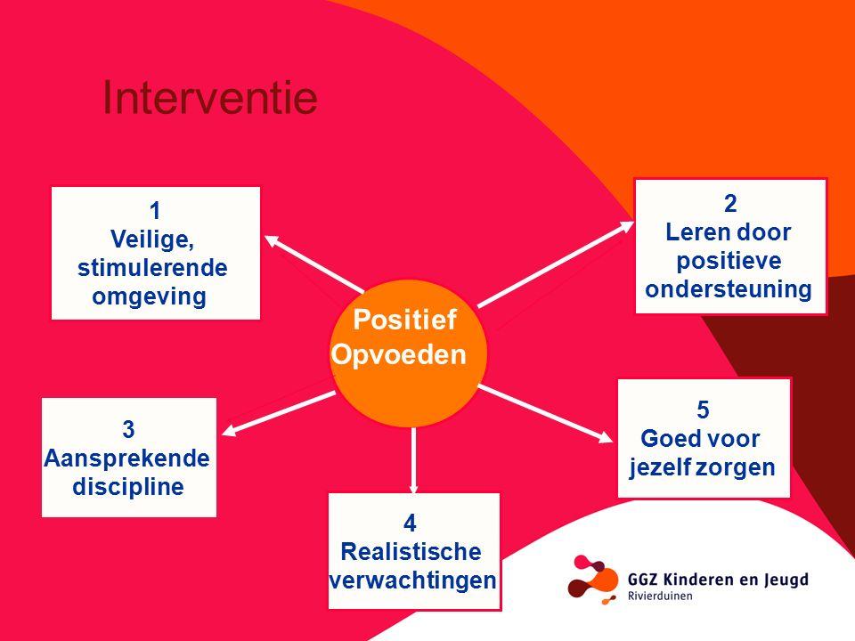 Positief Opvoeden 1 Veilige, stimulerende omgeving 2 Leren door positieve ondersteuning 3 Aansprekende discipline 4 Realistische verwachtingen 5 Goed