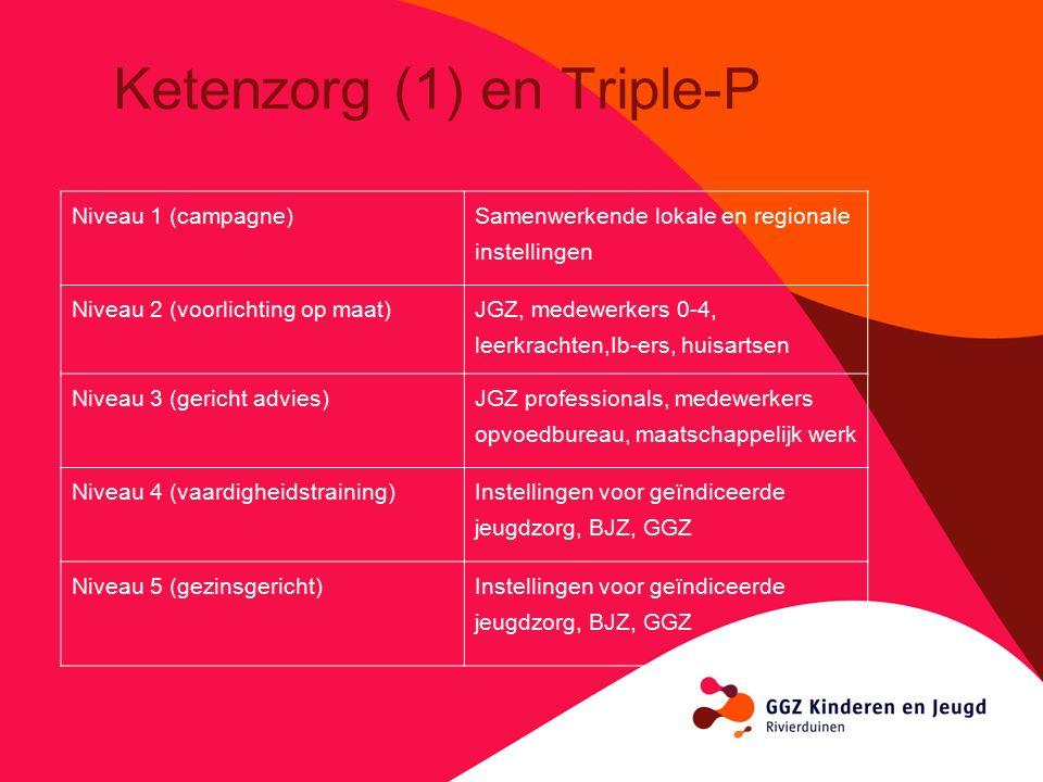Ketenzorg (1) en Triple-P Niveau 1 (campagne) Samenwerkende lokale en regionale instellingen Niveau 2 (voorlichting op maat) JGZ, medewerkers 0-4, leerkrachten,Ib-ers, huisartsen Niveau 3 (gericht advies) JGZ professionals, medewerkers opvoedbureau, maatschappelijk werk Niveau 4 (vaardigheidstraining) Instellingen voor geïndiceerde jeugdzorg, BJZ, GGZ Niveau 5 (gezinsgericht)Instellingen voor geïndiceerde jeugdzorg, BJZ, GGZ