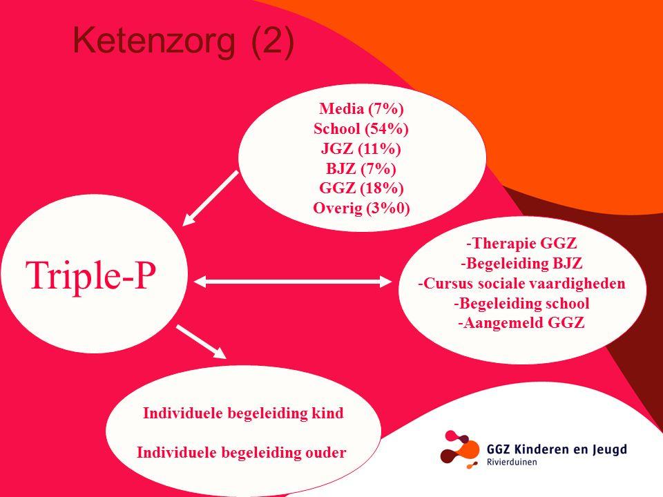 Triple-P Media (7%) School (54%) JGZ (11%) BJZ (7%) GGZ (18%) Overig (3%0) Individuele begeleiding kind Individuele begeleiding ouder -Therapie GGZ -Begeleiding BJZ -Cursus sociale vaardigheden -Begeleiding school -Aangemeld GGZ Ketenzorg (2)