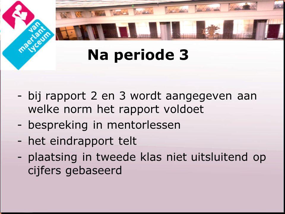 Na periode 3 -bij rapport 2 en 3 wordt aangegeven aan welke norm het rapport voldoet -bespreking in mentorlessen -het eindrapport telt -plaatsing in tweede klas niet uitsluitend op cijfers gebaseerd