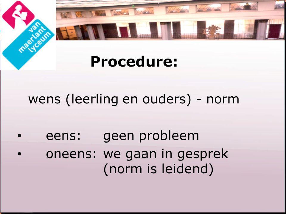 Procedure: wens (leerling en ouders) - norm eens:geen probleem oneens:we gaan in gesprek (norm is leidend)