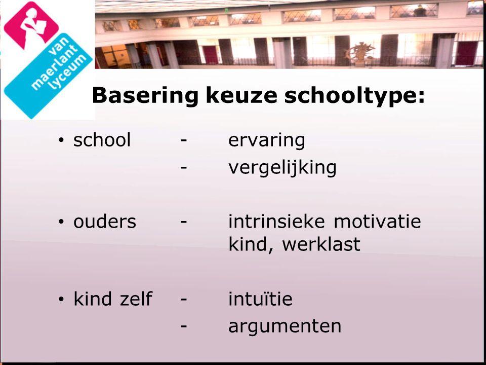 Basering keuze schooltype: school-ervaring -vergelijking ouders-intrinsieke motivatie kind, werklast kind zelf-intuïtie -argumenten