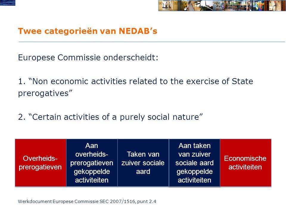 Twee categorieën van NEDAB's Europese Commissie onderscheidt: 1.