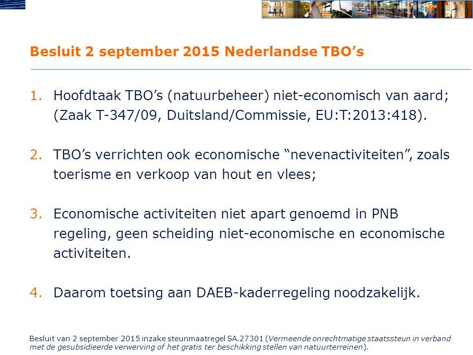 Besluit 2 september 2015 Nederlandse TBO's 1.Hoofdtaak TBO's (natuurbeheer) niet-economisch van aard; (Zaak T-347/09, Duitsland/Commissie, EU:T:2013:418).
