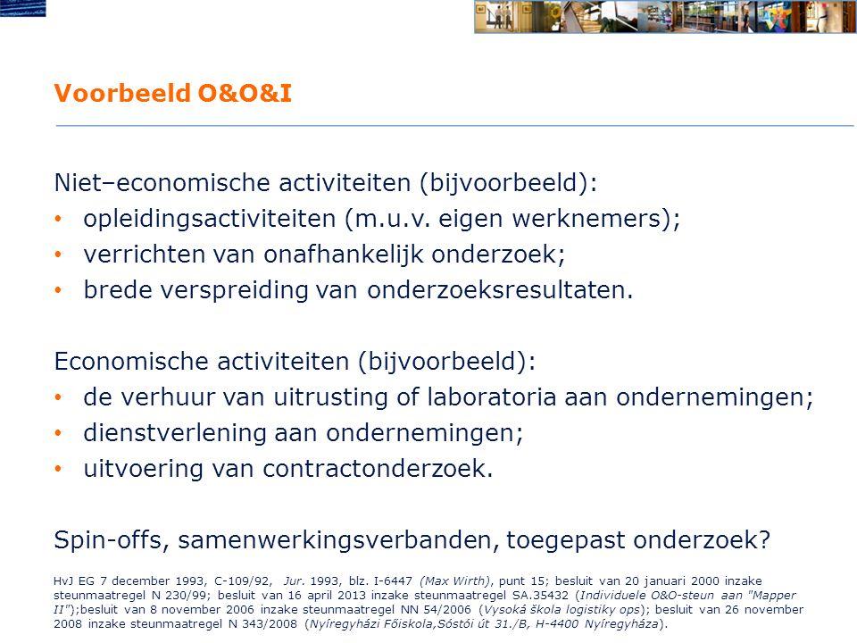 Voorbeeld O&O&I Niet–economische activiteiten (bijvoorbeeld): opleidingsactiviteiten (m.u.v.
