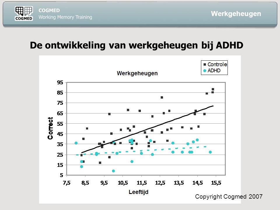 Copyright Cogmed 2007 De ontwikkeling van werkgeheugen bij ADHD Werkgeheugen