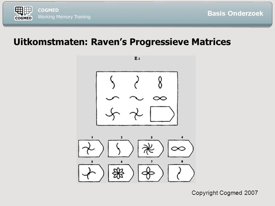 Copyright Cogmed 2007 Uitkomstmaten: Raven's Progressieve Matrices Basis Onderzoek