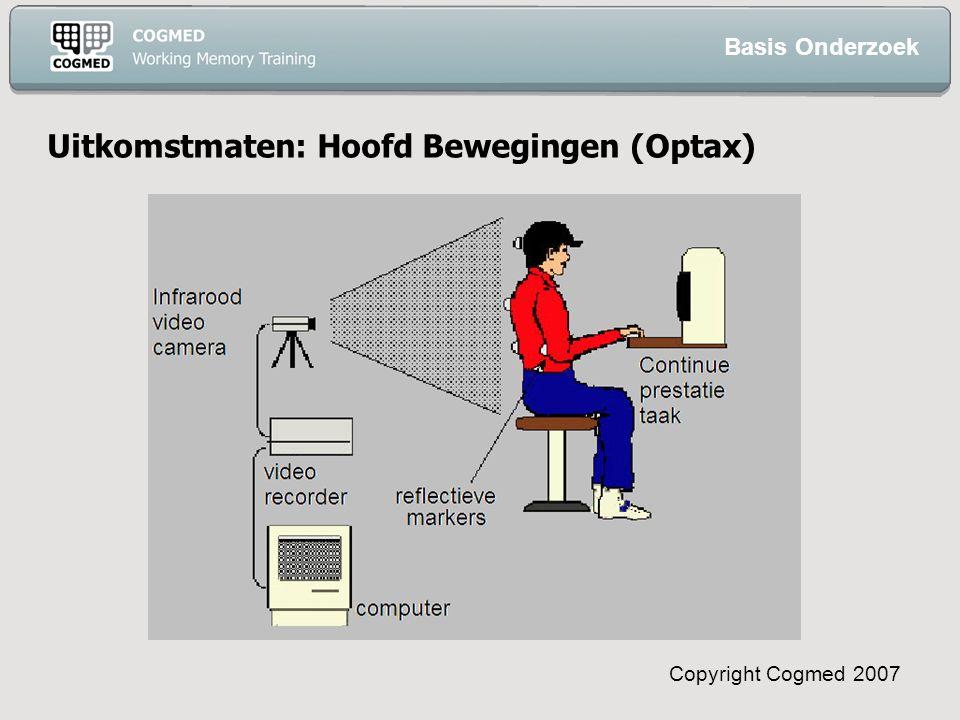 Copyright Cogmed 2007 Uitkomstmaten: Hoofd Bewegingen (Optax) Basis Onderzoek