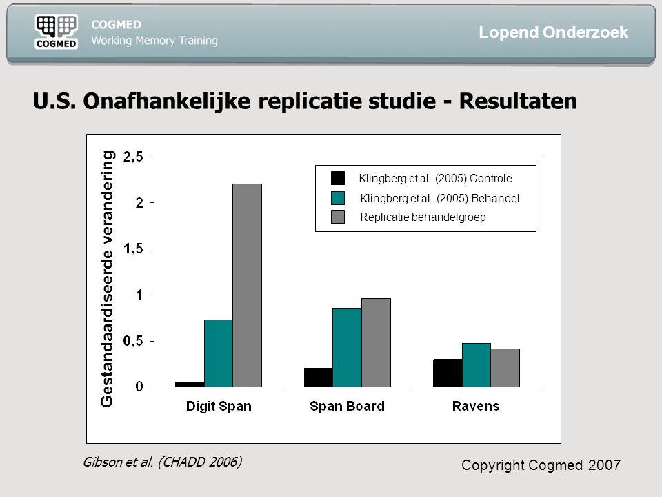 Copyright Cogmed 2007 U.S. Onafhankelijke replicatie studie - Resultaten Gibson et al.