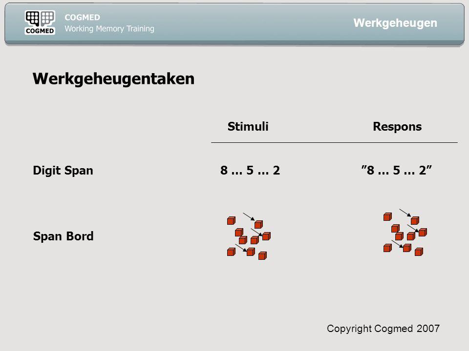 Copyright Cogmed 2007 Werkgeheugentaken Digit Span8 … 5 … 2 8 … 5 … 2 Stimuli Respons Span Bord Werkgeheugen