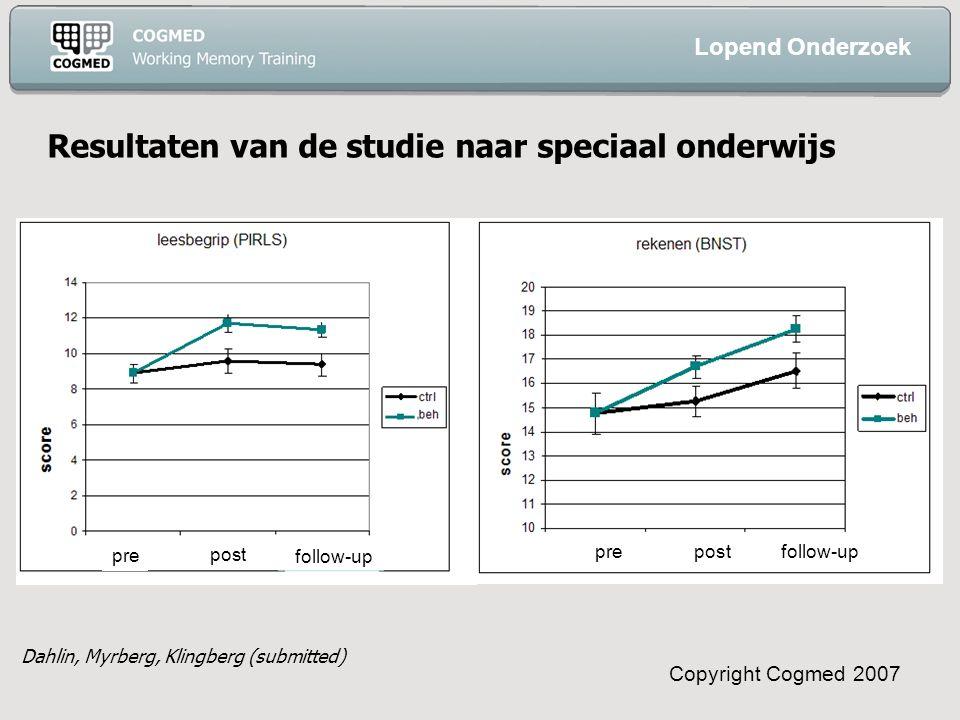Copyright Cogmed 2007 pre post follow-up prepost follow-up Lopend Onderzoek Dahlin, Myrberg, Klingberg (submitted) Resultaten van de studie naar speciaal onderwijs