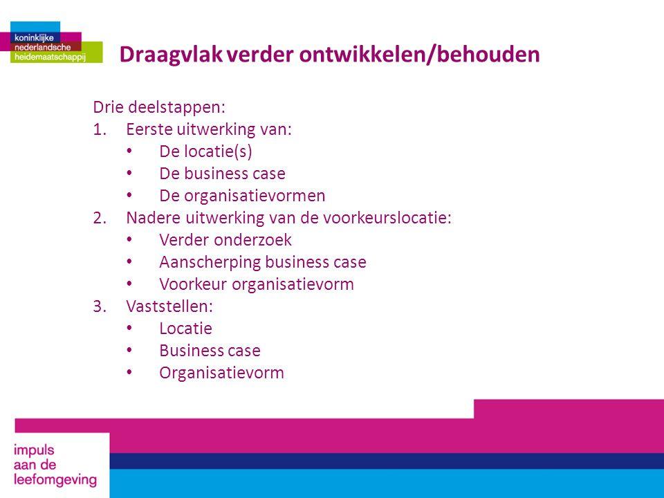 Draagvlak verder ontwikkelen/behouden Drie deelstappen: 1.Eerste uitwerking van: De locatie(s) De business case De organisatievormen 2.Nadere uitwerki