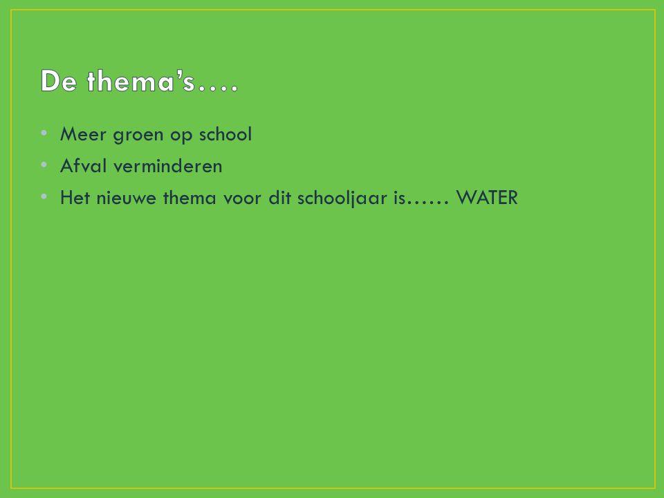 Meer groen op school Afval verminderen Het nieuwe thema voor dit schooljaar is…… WATER