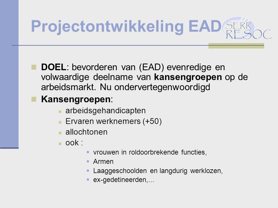 Projectontwikkeling EAD DOEL: bevorderen van (EAD) evenredige en volwaardige deelname van kansengroepen op de arbeidsmarkt.