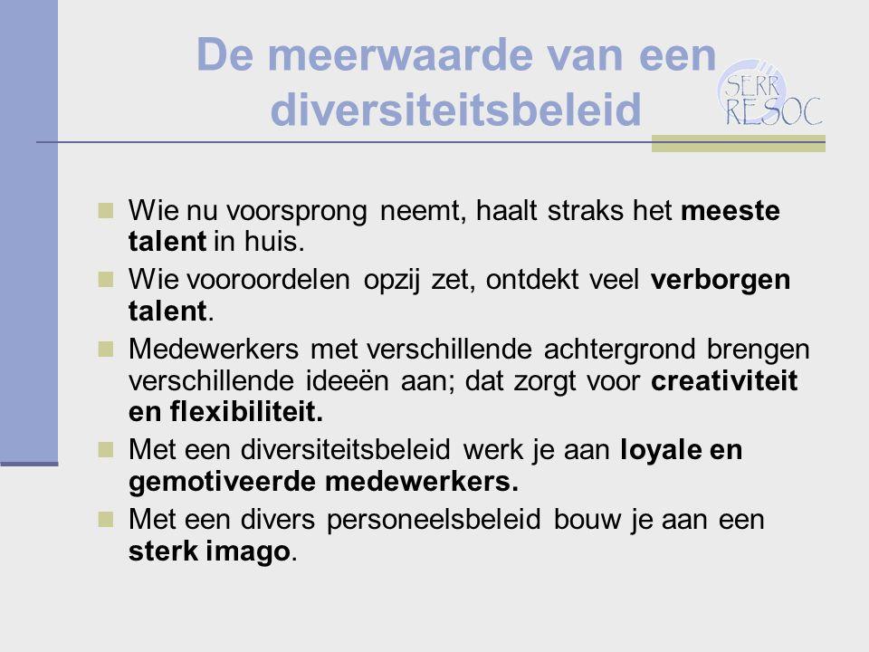 De meerwaarde van een diversiteitsbeleid Wie nu voorsprong neemt, haalt straks het meeste talent in huis.