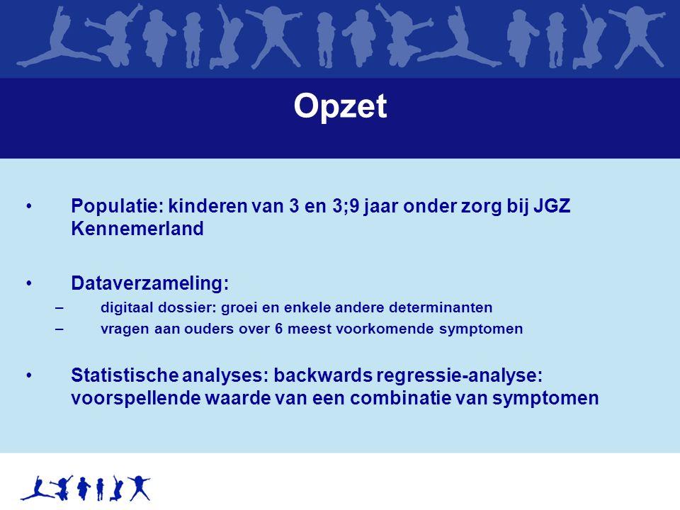 Opzet Populatie: kinderen van 3 en 3;9 jaar onder zorg bij JGZ Kennemerland Dataverzameling: –digitaal dossier: groei en enkele andere determinanten –