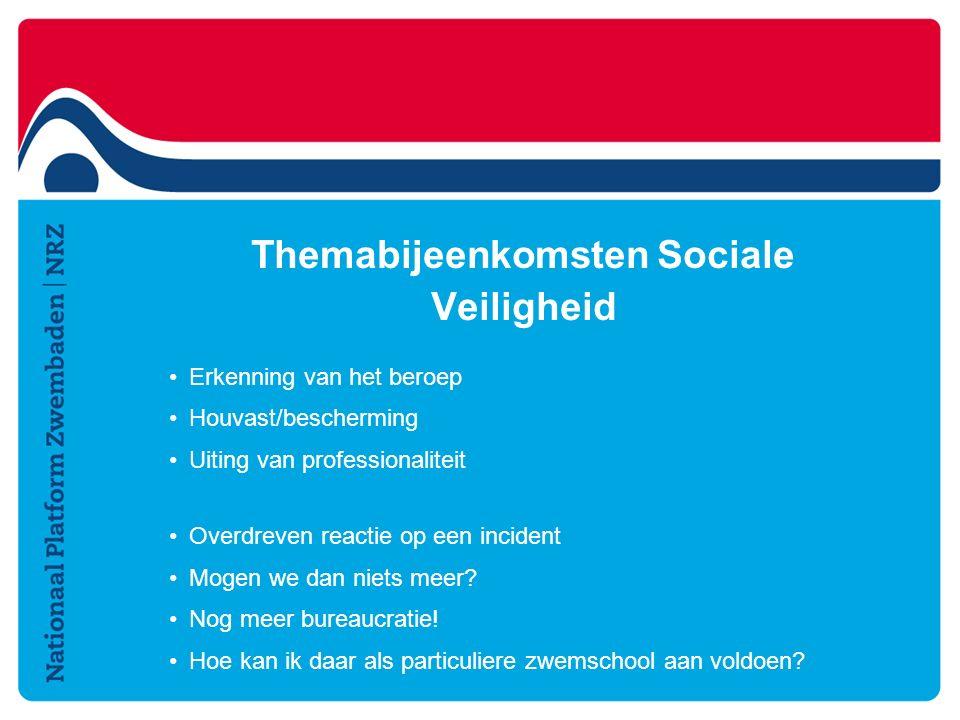 Themabijeenkomsten Sociale Veiligheid Erkenning van het beroep Houvast/bescherming Uiting van professionaliteit Overdreven reactie op een incident Mogen we dan niets meer.