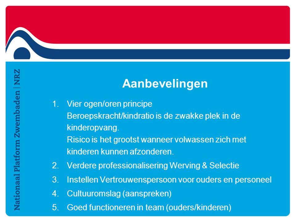 Aanbevelingen 1.Vier ogen/oren principe Beroepskracht/kindratio is de zwakke plek in de kinderopvang.