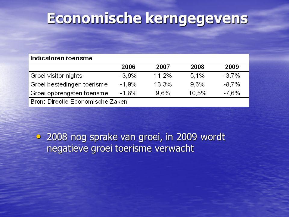 Economische kerngegevens 2008 nog sprake van groei, in 2009 wordt negatieve groei toerisme verwacht 2008 nog sprake van groei, in 2009 wordt negatieve groei toerisme verwacht
