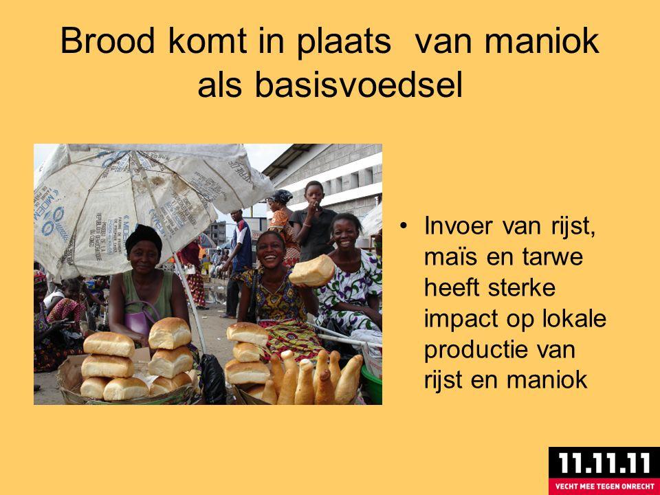 Brood komt in plaats van maniok als basisvoedsel Invoer van rijst, maïs en tarwe heeft sterke impact op lokale productie van rijst en maniok