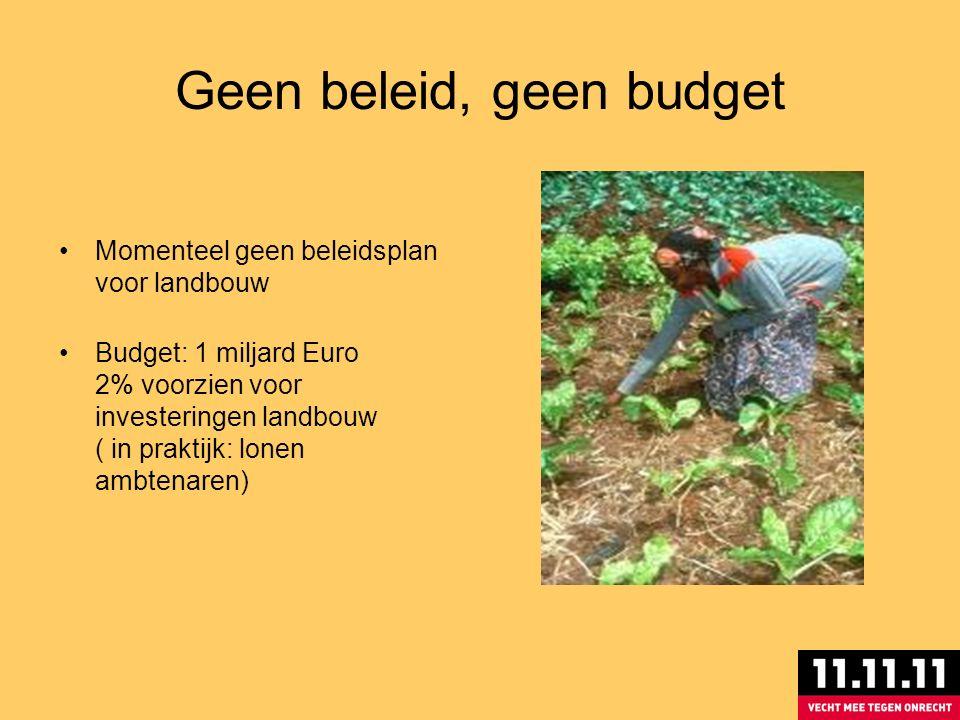 Geen beleid, geen budget Momenteel geen beleidsplan voor landbouw Budget: 1 miljard Euro 2% voorzien voor investeringen landbouw ( in praktijk: lonen ambtenaren)