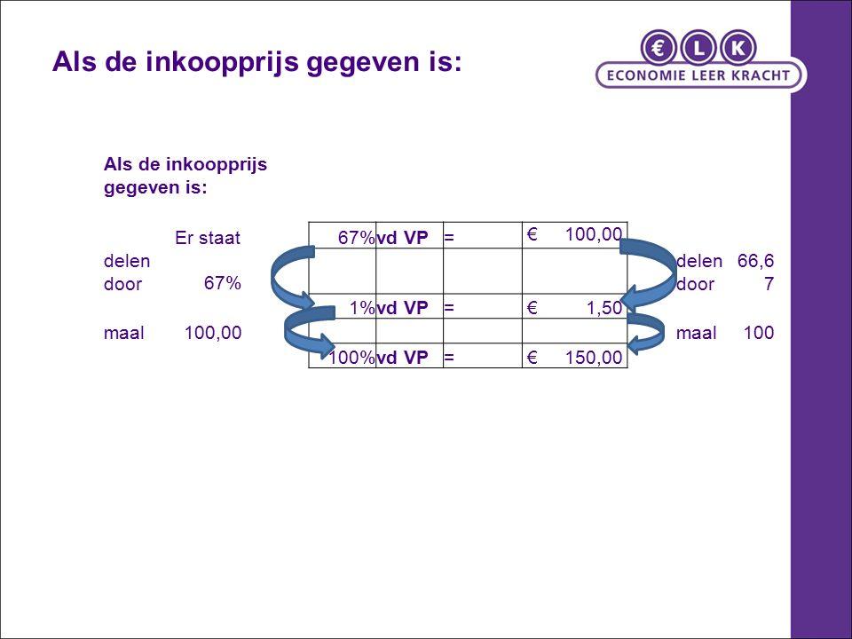 Als de inkoopprijs gegeven is: Er staat67%vd VP= € 100,00 delen door67% delen door 66,6 7 1%vd VP= € 1,50 maal100,00 maal100 100%vd VP= € 150,00 Als d