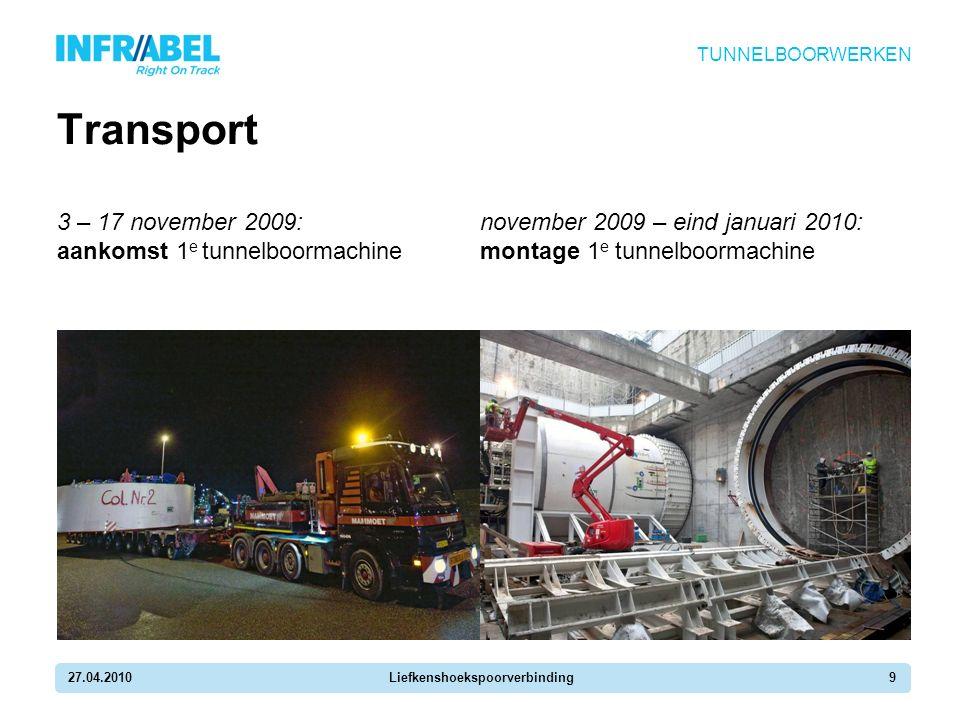 27.04.2010Liefkenshoekspoorverbinding9 Transport 3 – 17 november 2009: aankomst 1 e tunnelboormachine TUNNELBOORWERKEN november 2009 – eind januari 2010: montage 1 e tunnelboormachine