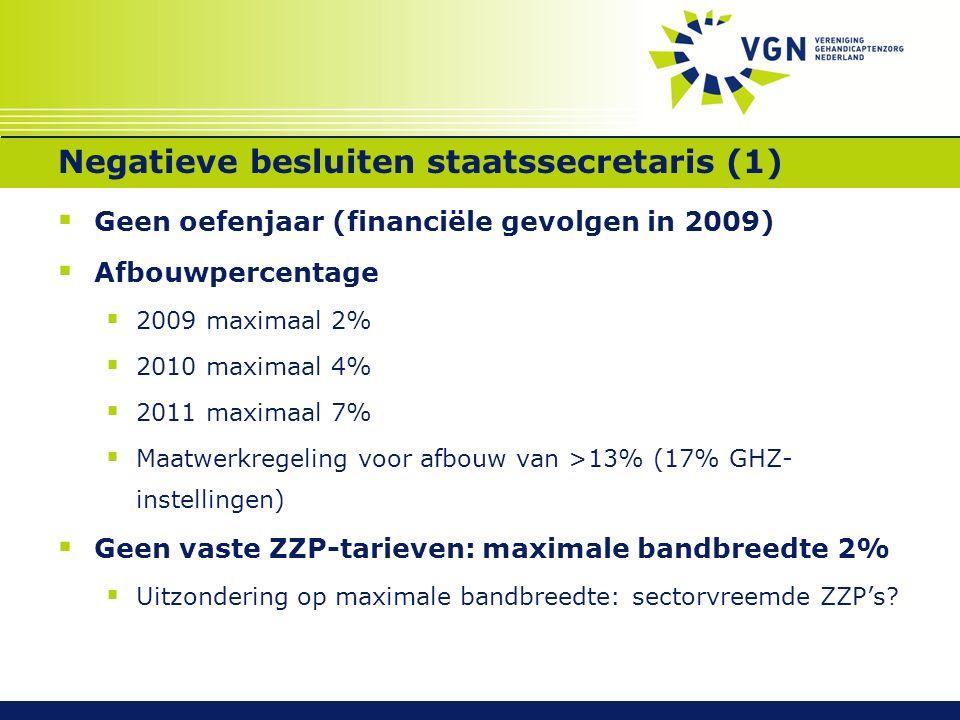 Negatieve besluiten staatssecretaris (1)  Geen oefenjaar (financiële gevolgen in 2009)  Afbouwpercentage  2009 maximaal 2%  2010 maximaal 4%  2011 maximaal 7%  Maatwerkregeling voor afbouw van >13% (17% GHZ- instellingen)  Geen vaste ZZP-tarieven: maximale bandbreedte 2%  Uitzondering op maximale bandbreedte: sectorvreemde ZZP's