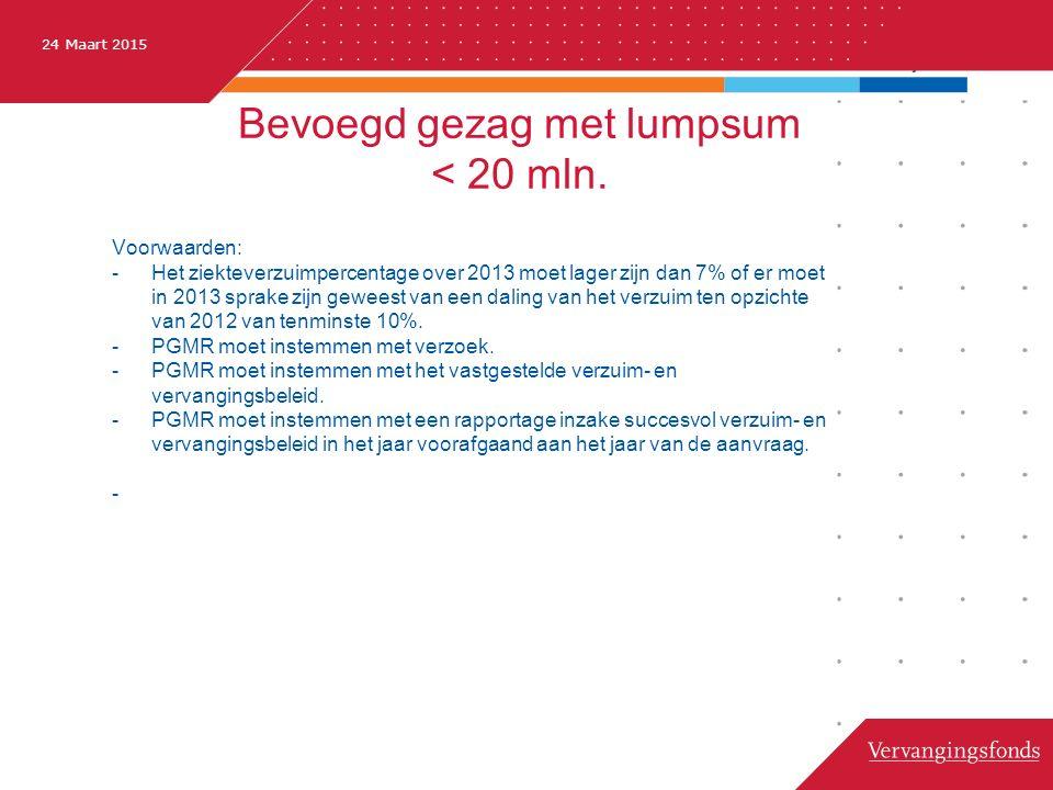 24 Maart 2015 Bevoegd gezag met lumpsum < 20 mln.