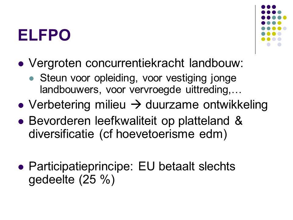 ELFPO Vergroten concurrentiekracht landbouw: Steun voor opleiding, voor vestiging jonge landbouwers, voor vervroegde uittreding,… Verbetering milieu 