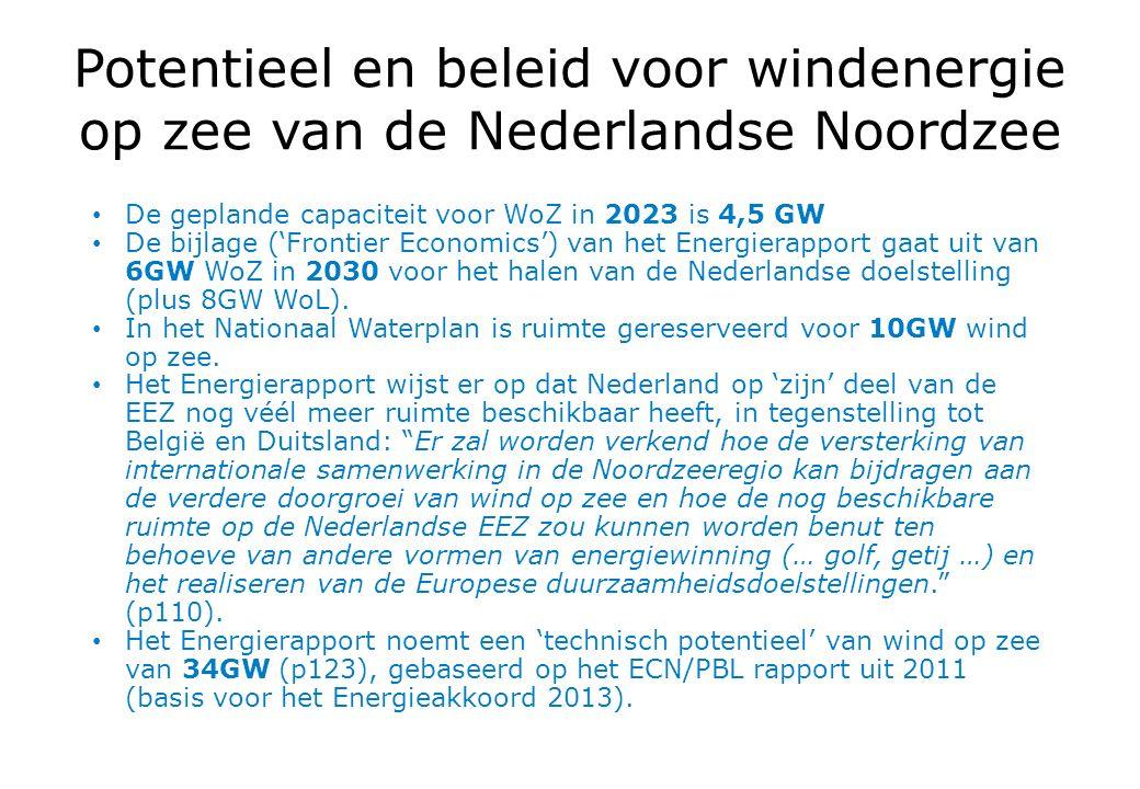 Potentieel en beleid voor windenergie op zee van de Nederlandse Noordzee De geplande capaciteit voor WoZ in 2023 is 4,5 GW De bijlage ('Frontier Economics') van het Energierapport gaat uit van 6GW WoZ in 2030 voor het halen van de Nederlandse doelstelling (plus 8GW WoL).