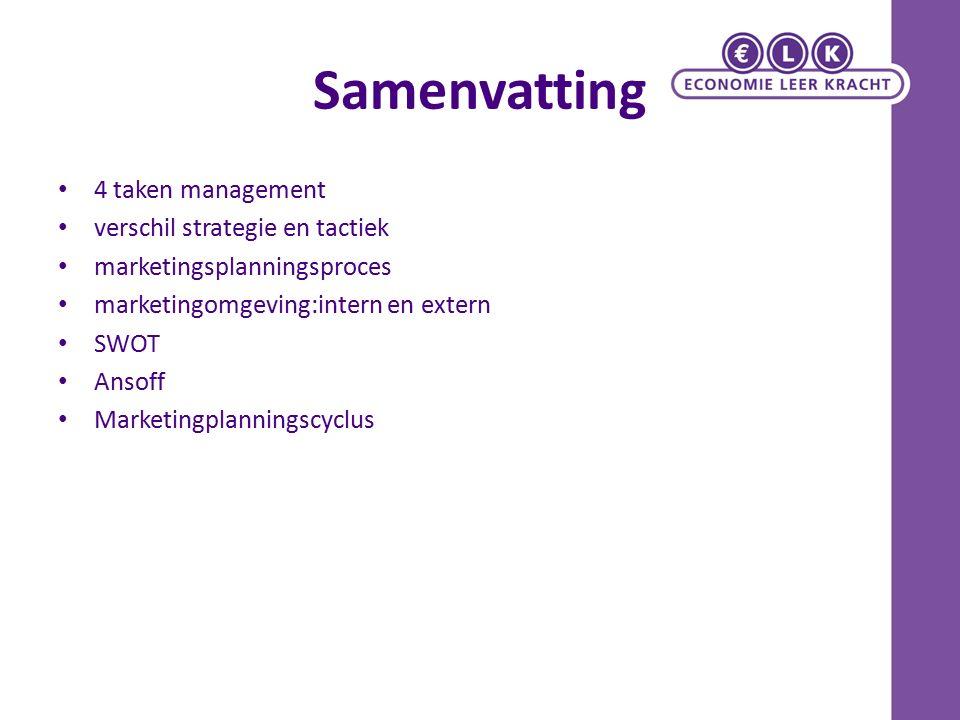 Samenvatting 4 taken management verschil strategie en tactiek marketingsplanningsproces marketingomgeving:intern en extern SWOT Ansoff Marketingplanni
