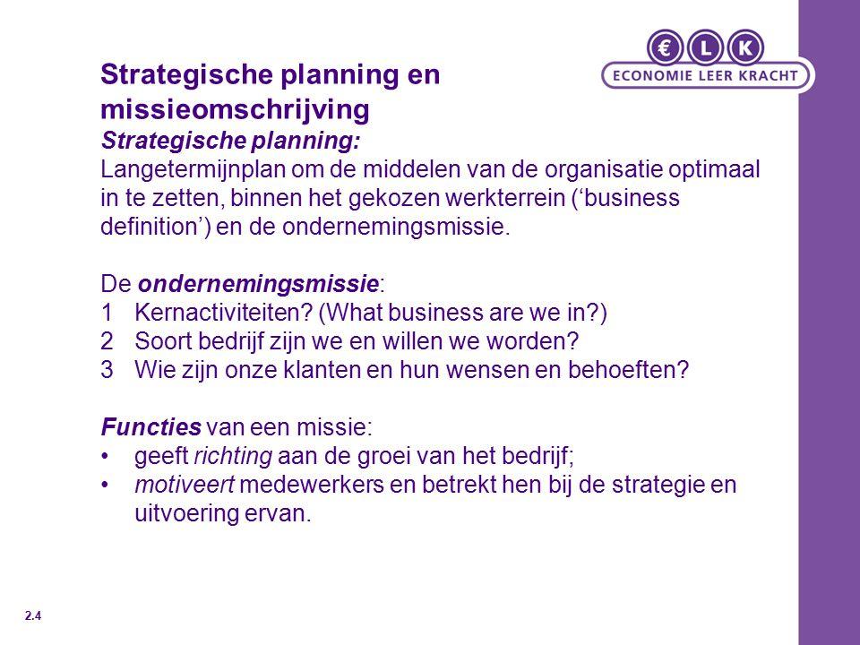 Strategische planning en missieomschrijving Strategische planning: Langetermijnplan om de middelen van de organisatie optimaal in te zetten, binnen het gekozen werkterrein ('business definition') en de ondernemingsmissie.