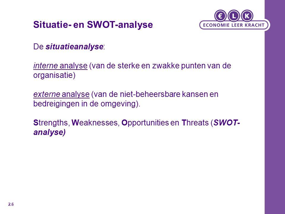 Situatie- en SWOT-analyse De situatieanalyse: interne analyse (van de sterke en zwakke punten van de organisatie) externe analyse (van de niet-beheersbare kansen en bedreigingen in de omgeving).