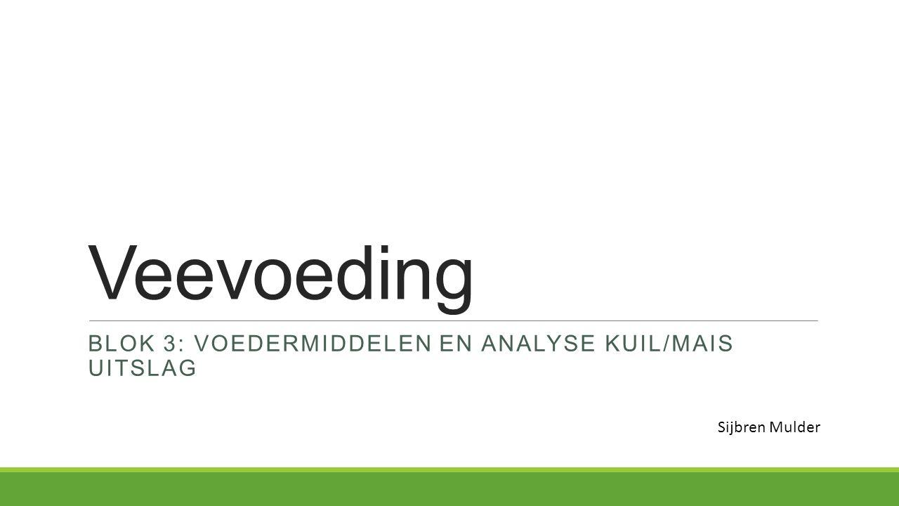 Veevoeding BLOK 3: VOEDERMIDDELEN EN ANALYSE KUIL/MAIS UITSLAG Sijbren Mulder