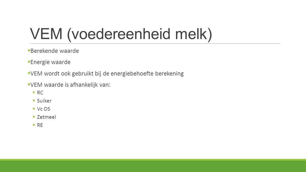 VEM (voedereenheid melk)  Berekende waarde  Energie waarde  VEM wordt ook gebruikt bij de energiebehoefte berekening  VEM waarde is afhankelijk van:  RC  Suiker  Vc OS  Zetmeel  RE