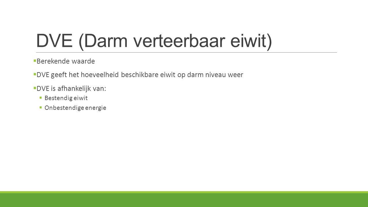 DVE (Darm verteerbaar eiwit)  Berekende waarde  DVE geeft het hoeveelheid beschikbare eiwit op darm niveau weer  DVE is afhankelijk van:  Bestendi