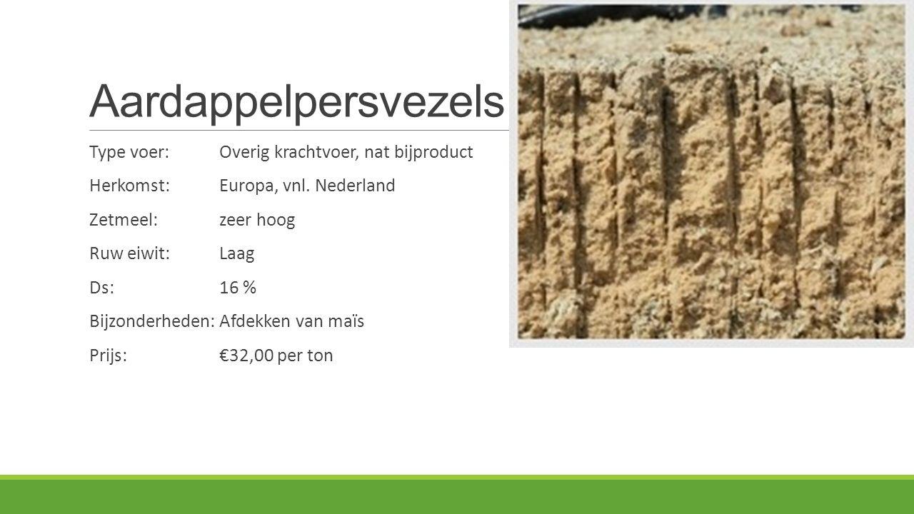 Aardappelpersvezels Type voer:Overig krachtvoer, nat bijproduct Herkomst: Europa, vnl. Nederland Zetmeel:zeer hoog Ruw eiwit:Laag Ds:16 % Bijzonderhed