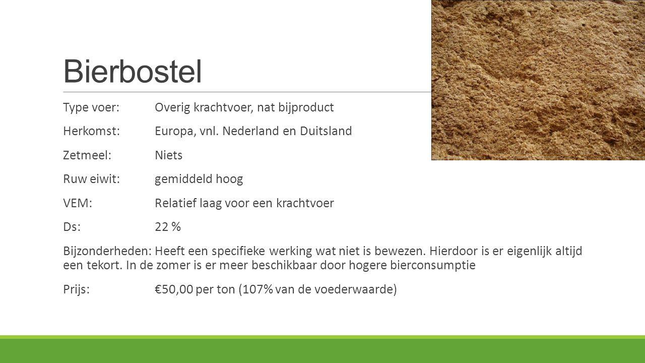 Bierbostel Type voer:Overig krachtvoer, nat bijproduct Herkomst: Europa, vnl. Nederland en Duitsland Zetmeel:Niets Ruw eiwit:gemiddeld hoog VEM:Relati