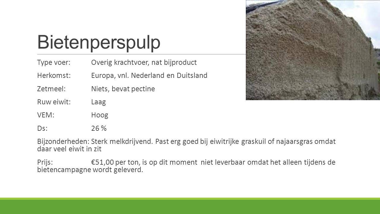 Bietenperspulp Type voer:Overig krachtvoer, nat bijproduct Herkomst: Europa, vnl. Nederland en Duitsland Zetmeel:Niets, bevat pectine Ruw eiwit:Laag V