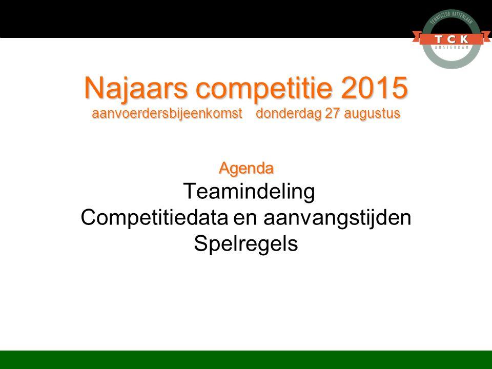 Najaars competitie 2015 aanvoerdersbijeenkomst donderdag 27 augustus Agenda Najaars competitie 2015 aanvoerdersbijeenkomst donderdag 27 augustus Agend