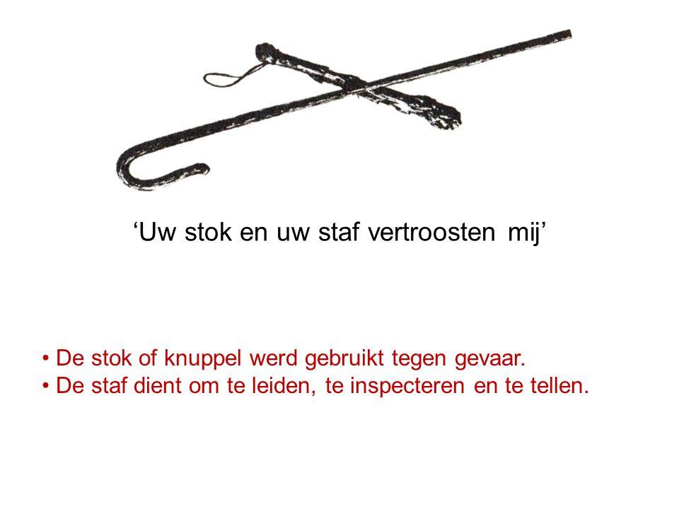 De stok of knuppel werd gebruikt tegen gevaar. De staf dient om te leiden, te inspecteren en te tellen. 'Uw stok en uw staf vertroosten mij'