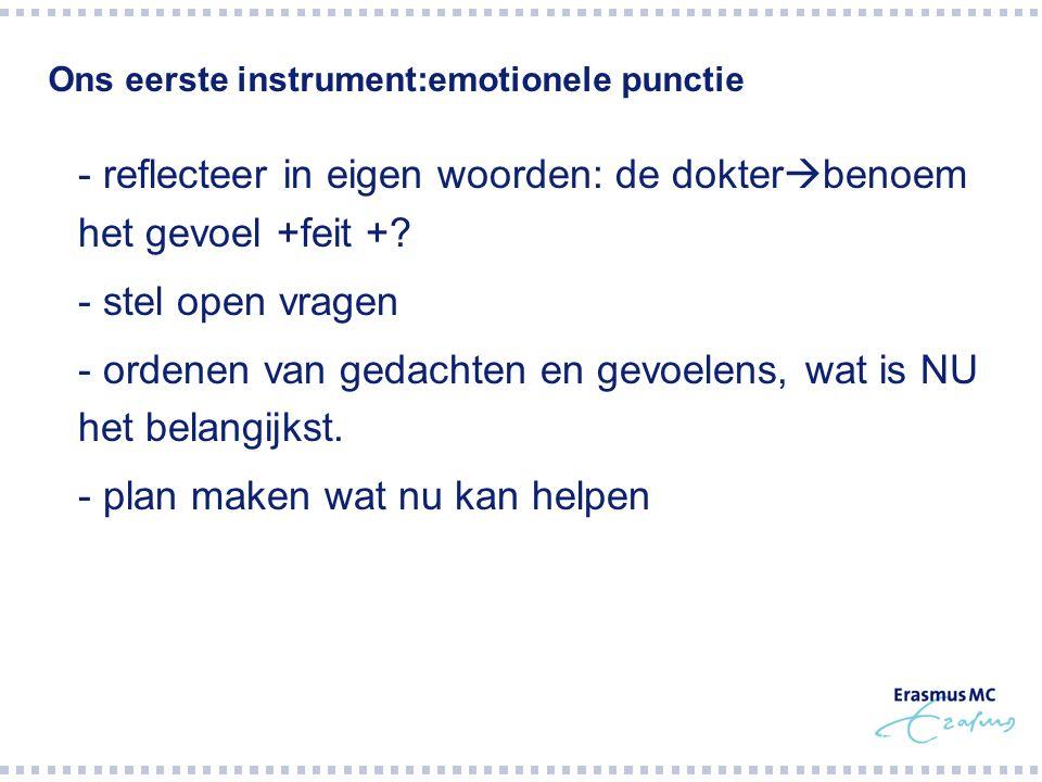 Ons eerste instrument:emotionele punctie  - reflecteer in eigen woorden: de dokter  benoem het gevoel +feit +?  - stel open vragen  - ordenen van