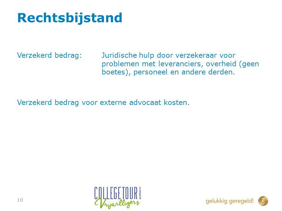 Rechtsbijstand Verzekerd bedrag:Juridische hulp door verzekeraar voor problemen met leveranciers, overheid (geen boetes), personeel en andere derden.